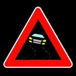 """Дорожный знак """"Осторожно, скользко"""", возможен неуправляемый занос"""