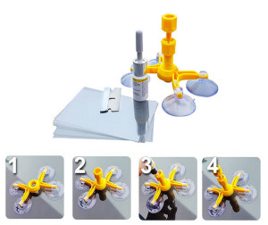 Перпендикулярно поверхности и точно по центру трещины или скола крепится пластмассовый или же металлический инжекторный мост, предназначенный для более правильного наполнения сколов и трещин.